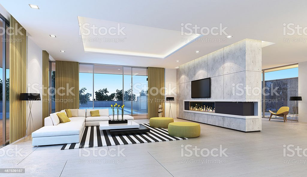Contemporary Villa Interior stock photo