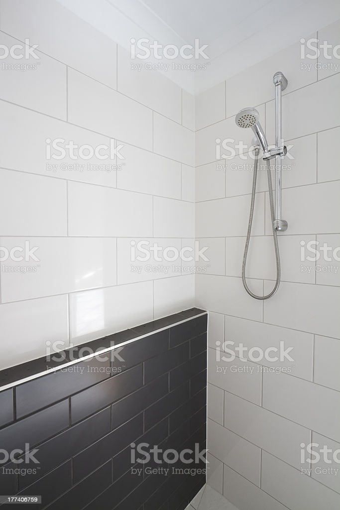 Contemporary walk in shower stock photo