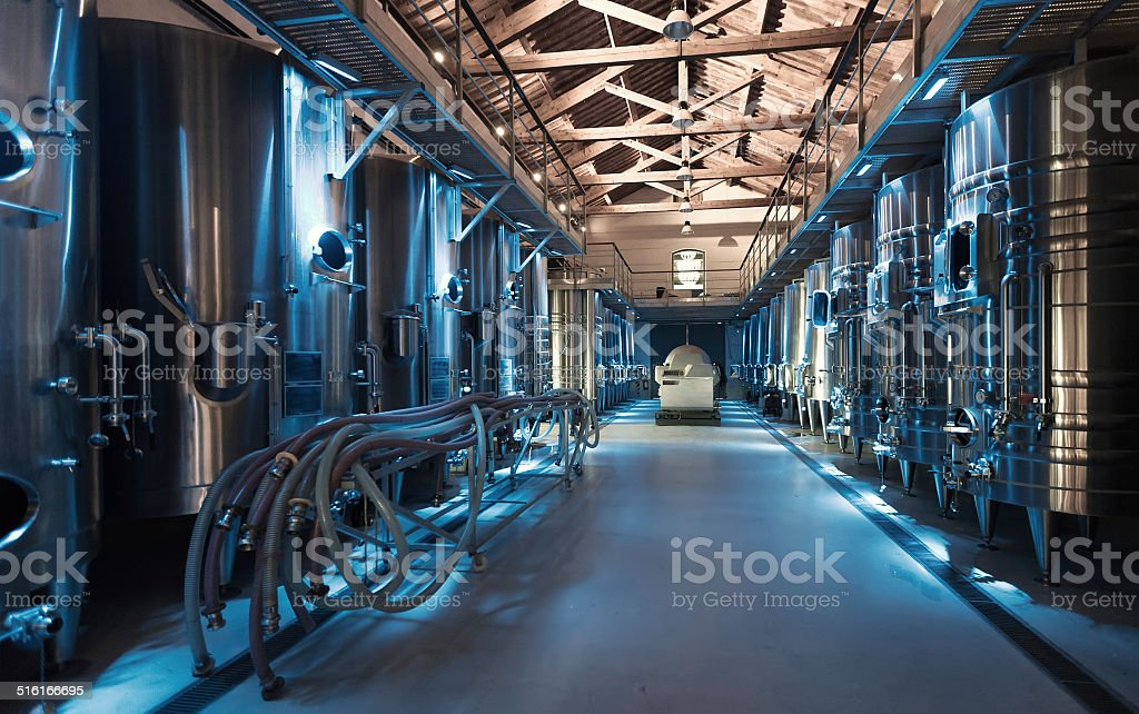 contemporary winemaker factory stock photo