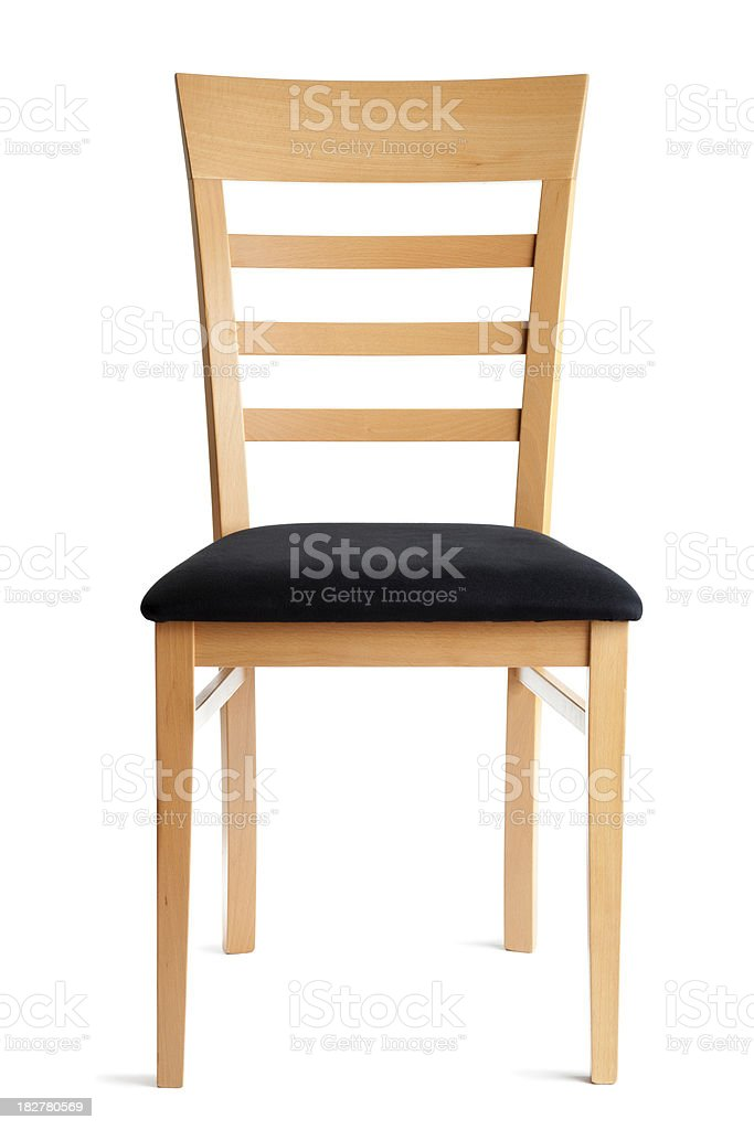 Contemporary Wooden Chair, Seating Furniture Front View Isolated on White stock photo