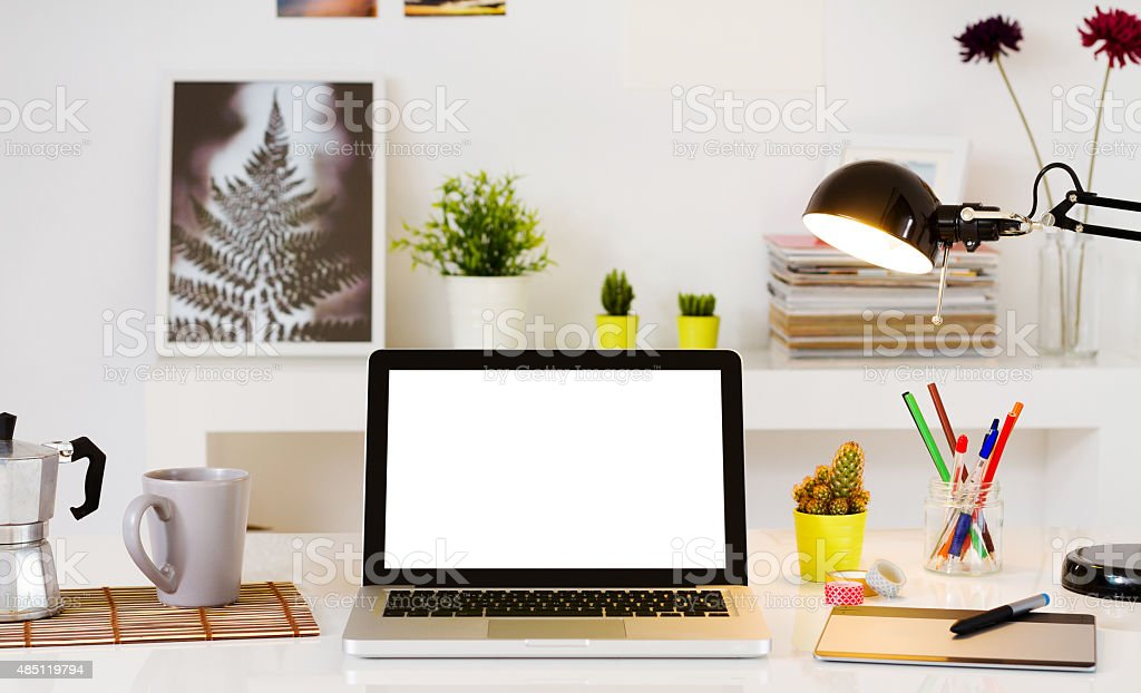 Contemporary workspace with computer stock photo