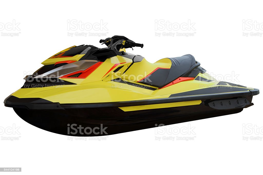 Contemporary yellow jet ski. stock photo