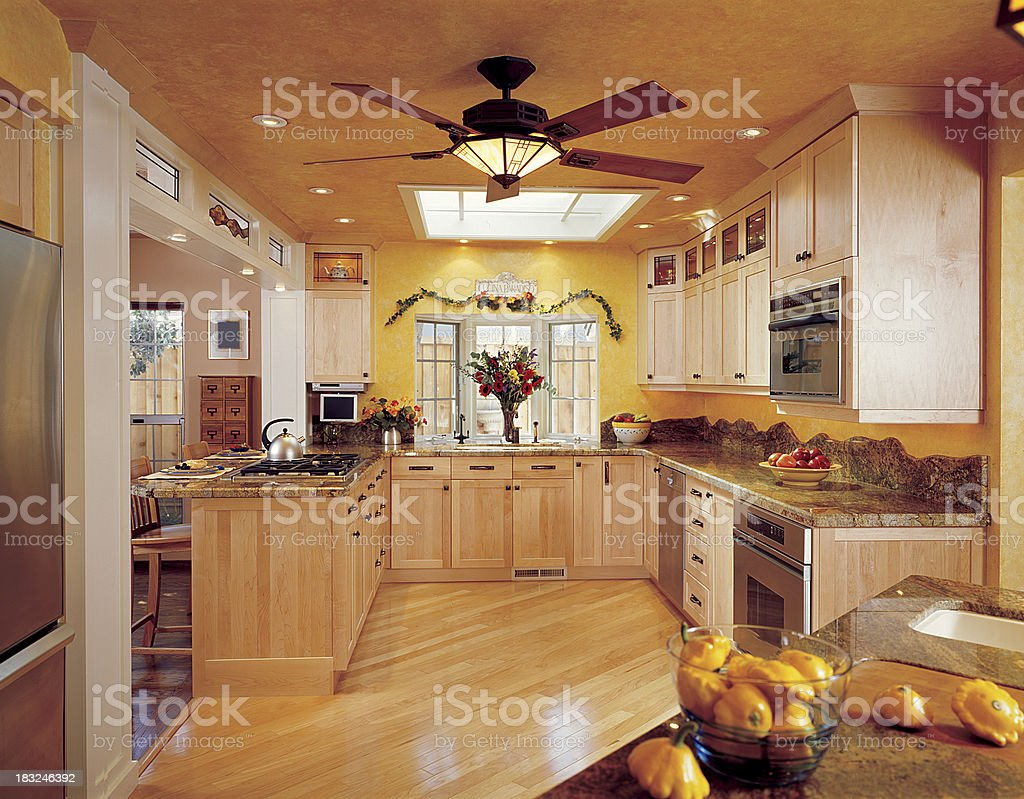 Contemporary Yellow Kitchen stock photo