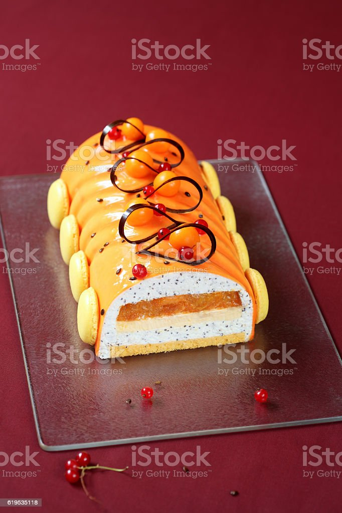 Contemporary Yule Log (layered) Cake stock photo