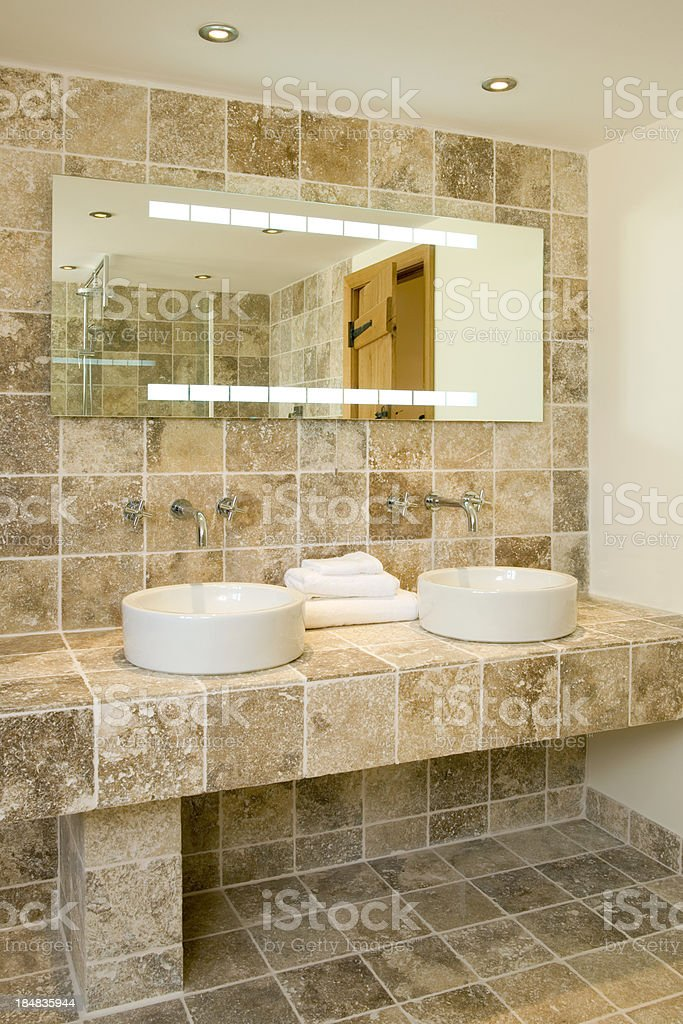 Contemporay 'his n hers' wash basins royalty-free stock photo
