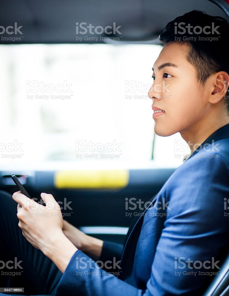 Content Carpooling Customer in Asia stock photo