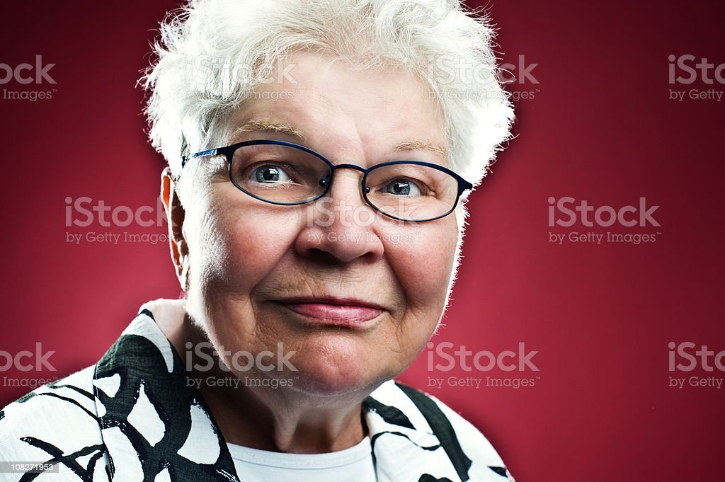 Content cute senior woman royalty-free stock photo