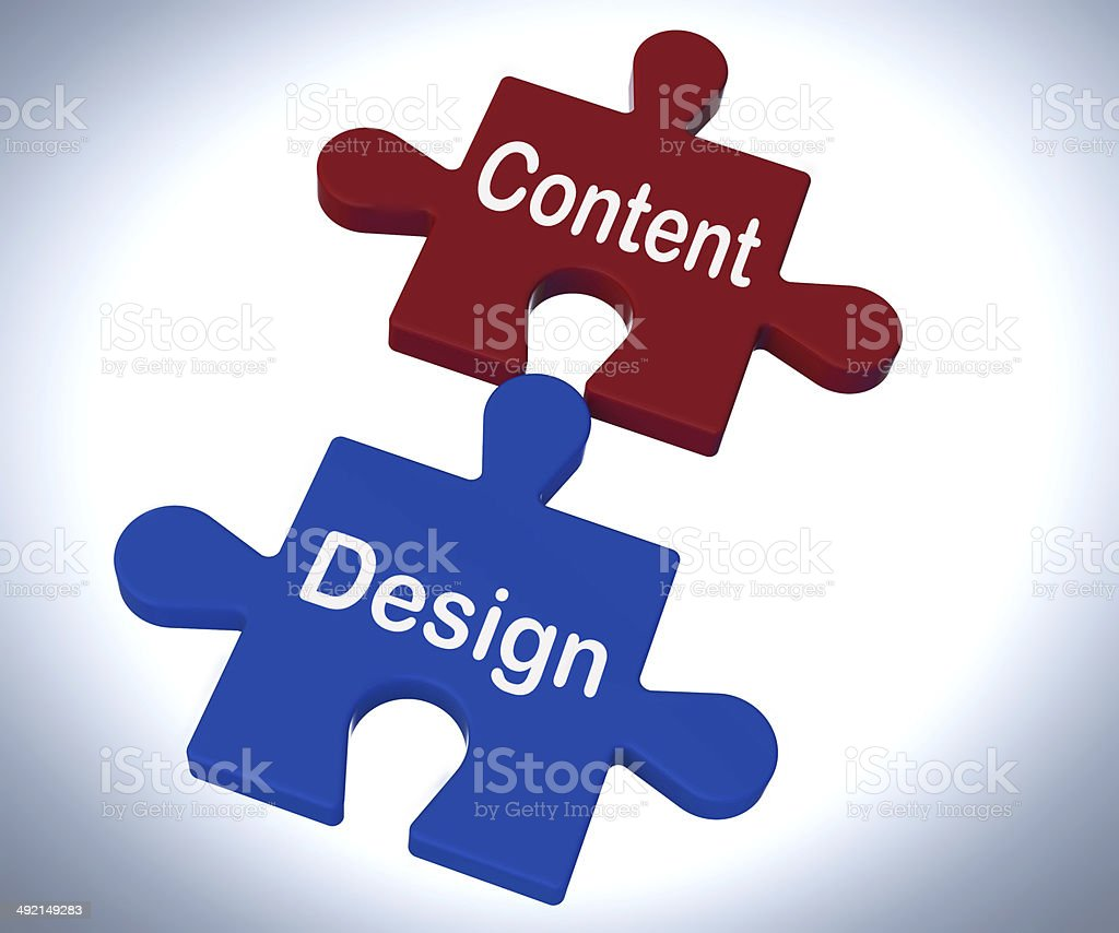 Content Design Puzzle Shows Promotional Material And Layout stock photo