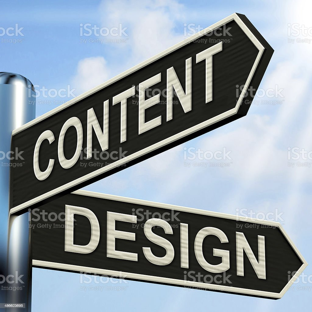 Content Design Signpost Means Message And Graphics stock photo