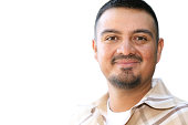Content Hispanic Man Portrait Isolated on White