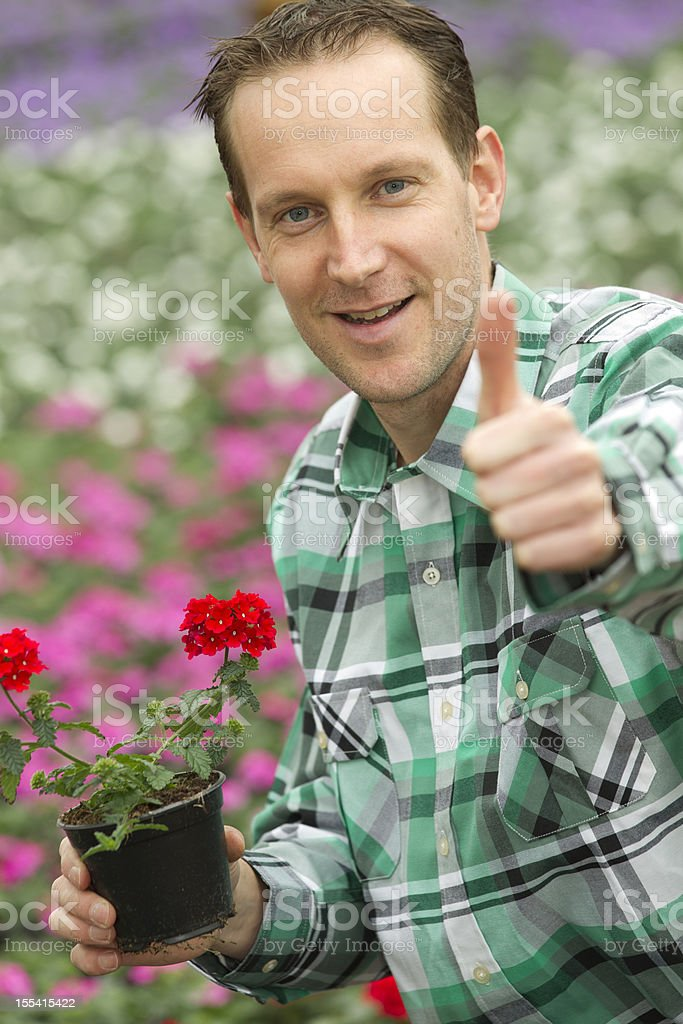 Content horticulturist showing plant royalty-free stock photo