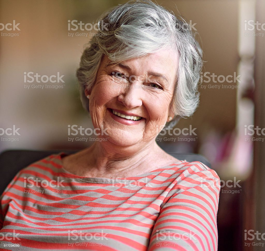 Content in her golden years stock photo