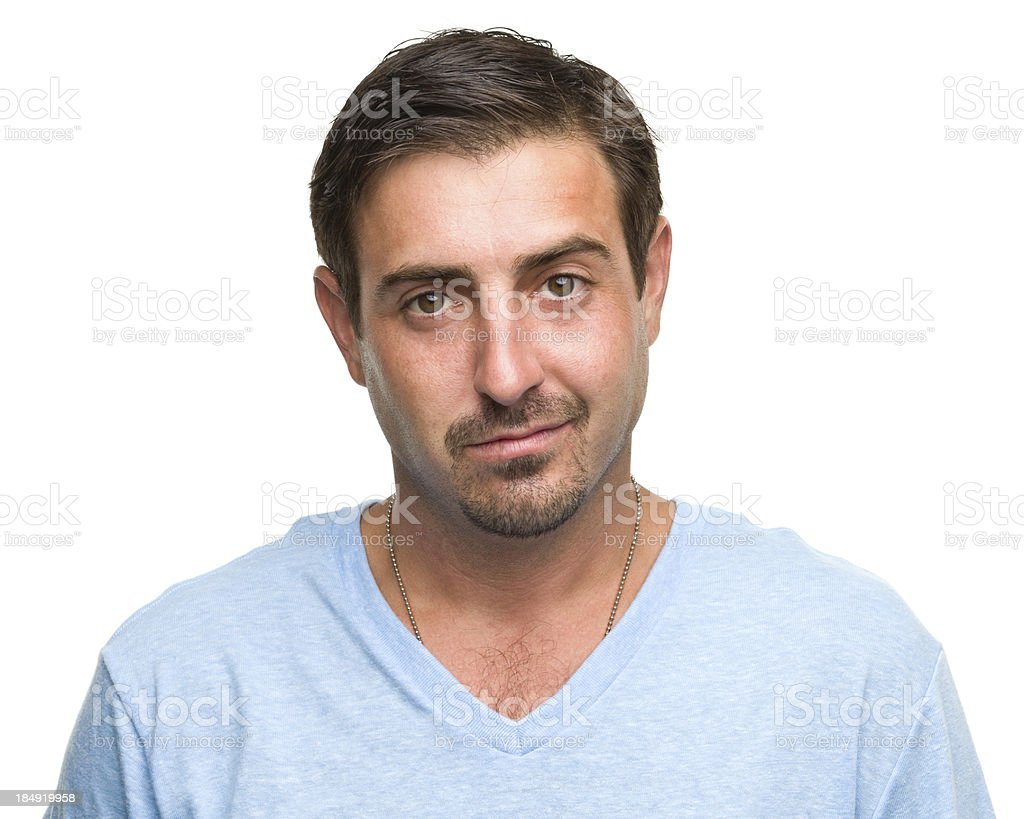 Content Man Half Smile Portrait royalty-free stock photo