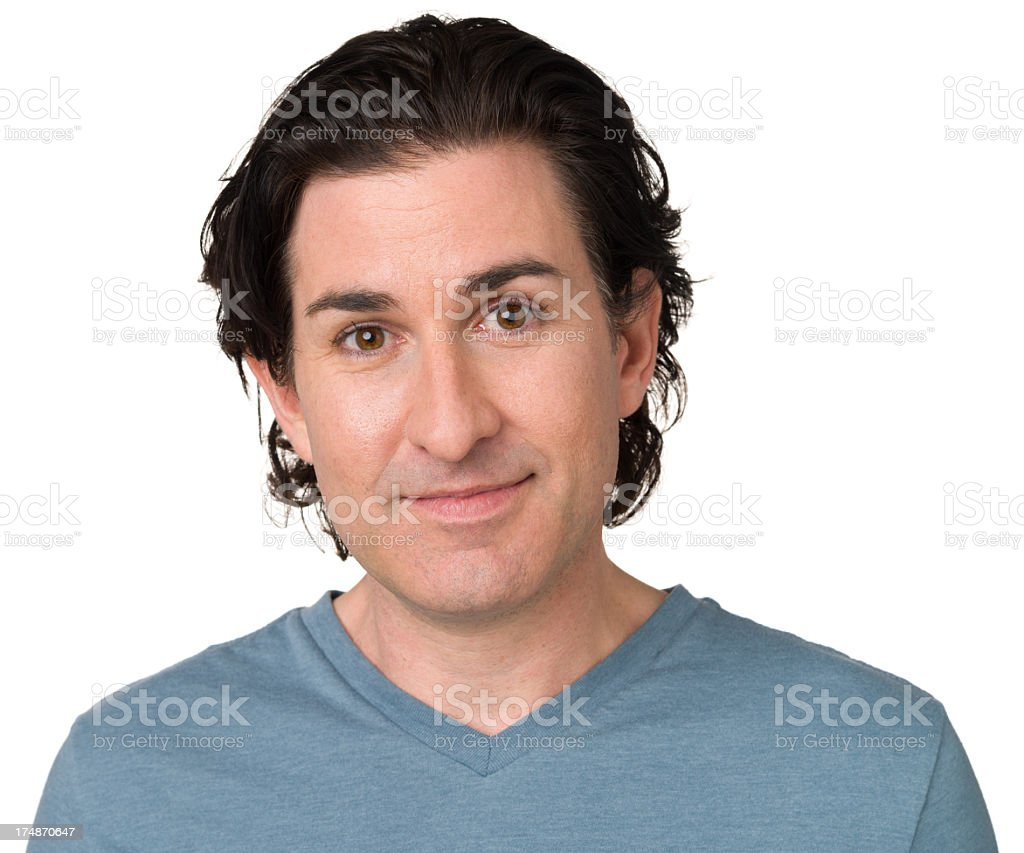 Content Man Head and Shoulders Portrait royalty-free stock photo