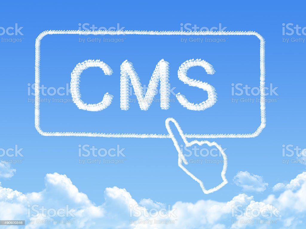 content management system message cloud shape stock photo