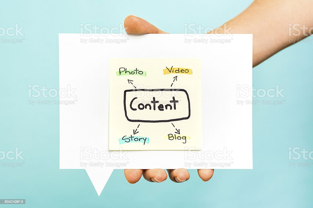 Content marketing strategy photo video story blog blue background stock photo