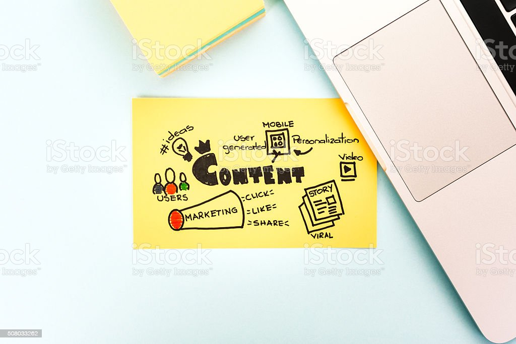 Content marketing with notebook computer. stock photo