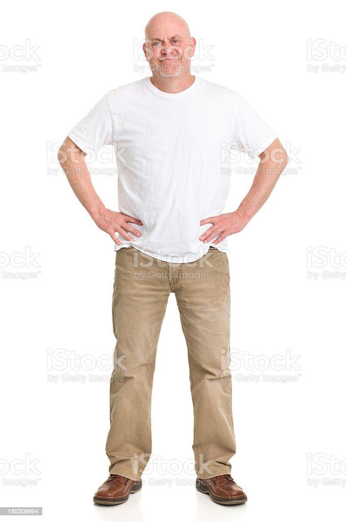 Content Mature Man Full Length Portrait stock photo