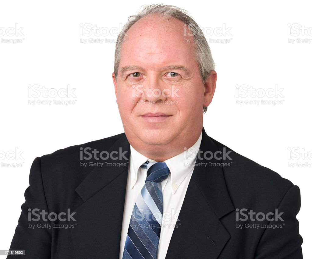Content Mature Man In Suit And Tie stock photo