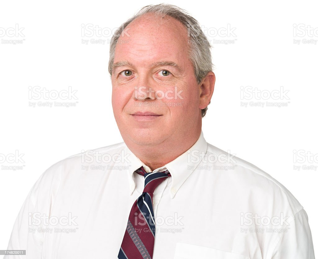 Content Mature Man Office Worker In Shirt And Tie royalty-free stock photo