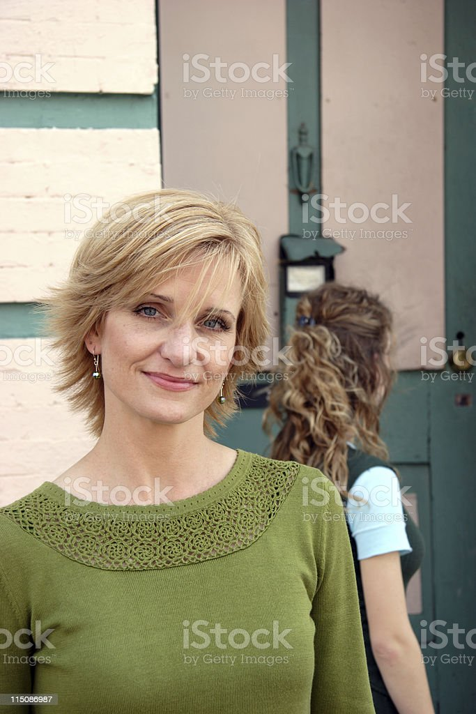 content - middle aged woman royalty-free stock photo