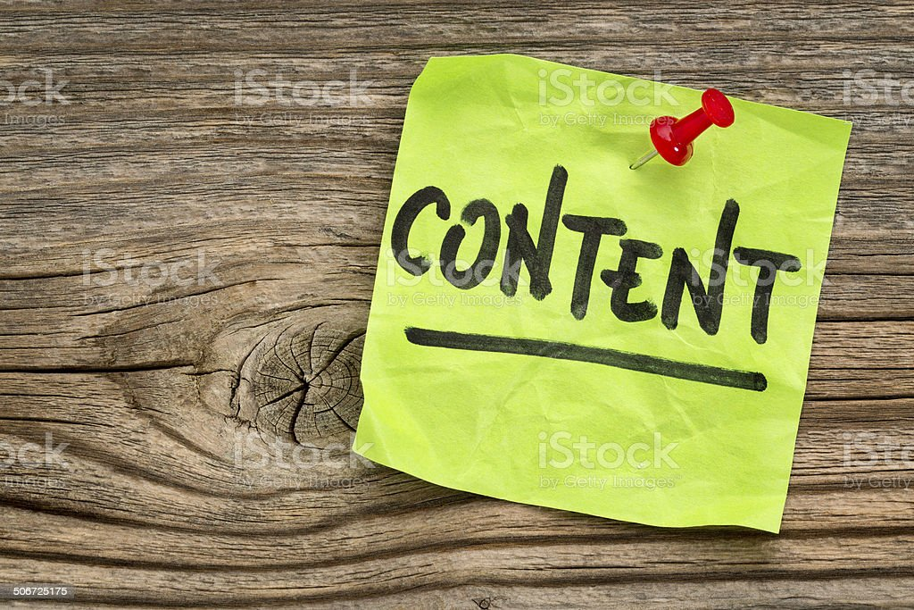 content  -  reminder note stock photo