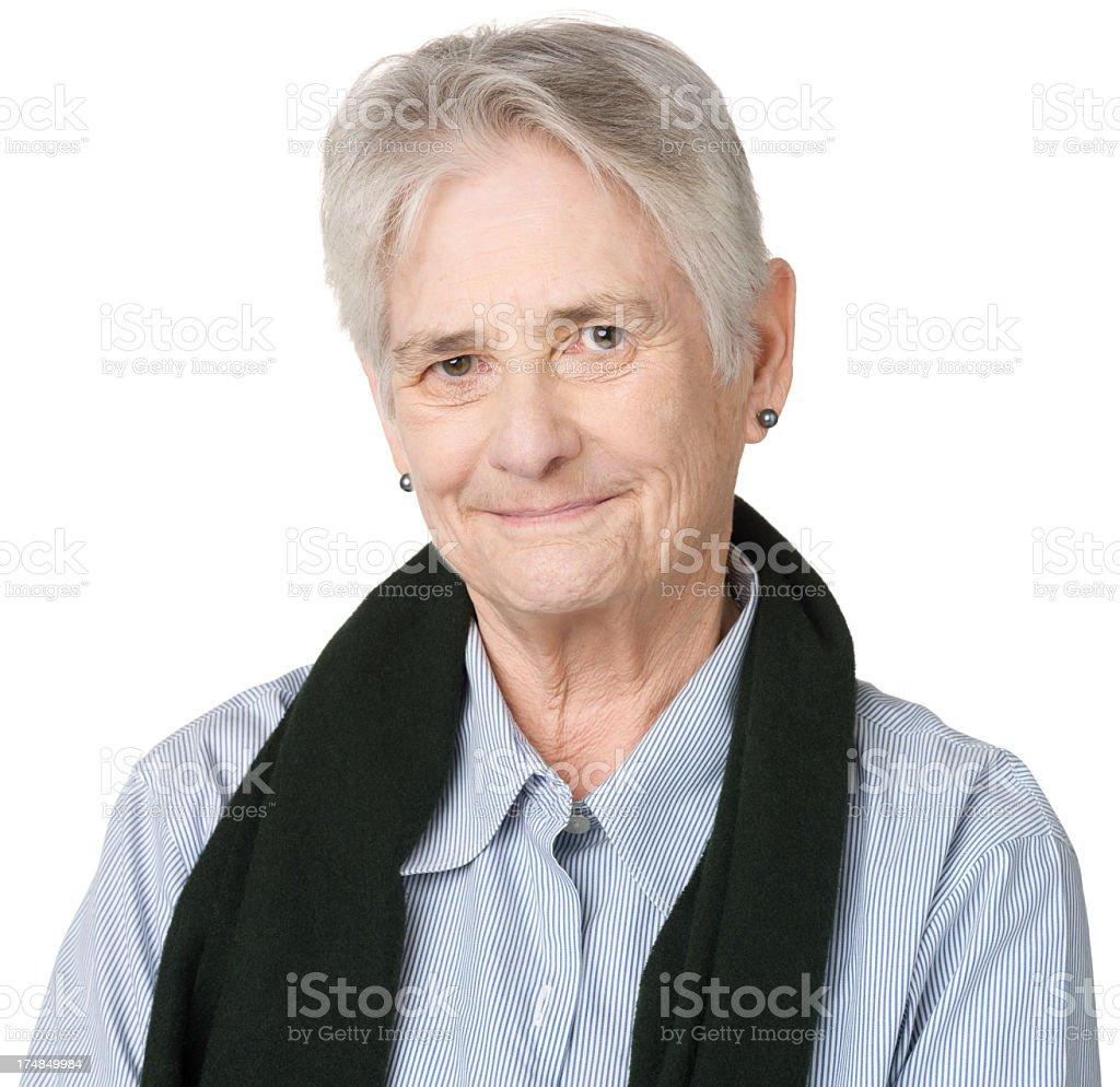 Content Senior Woman Portrait stock photo