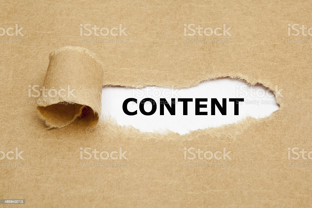 Content Torn Paper Concept stock photo
