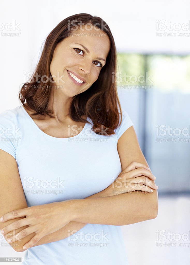 Content with every aspect of her life royalty-free stock photo