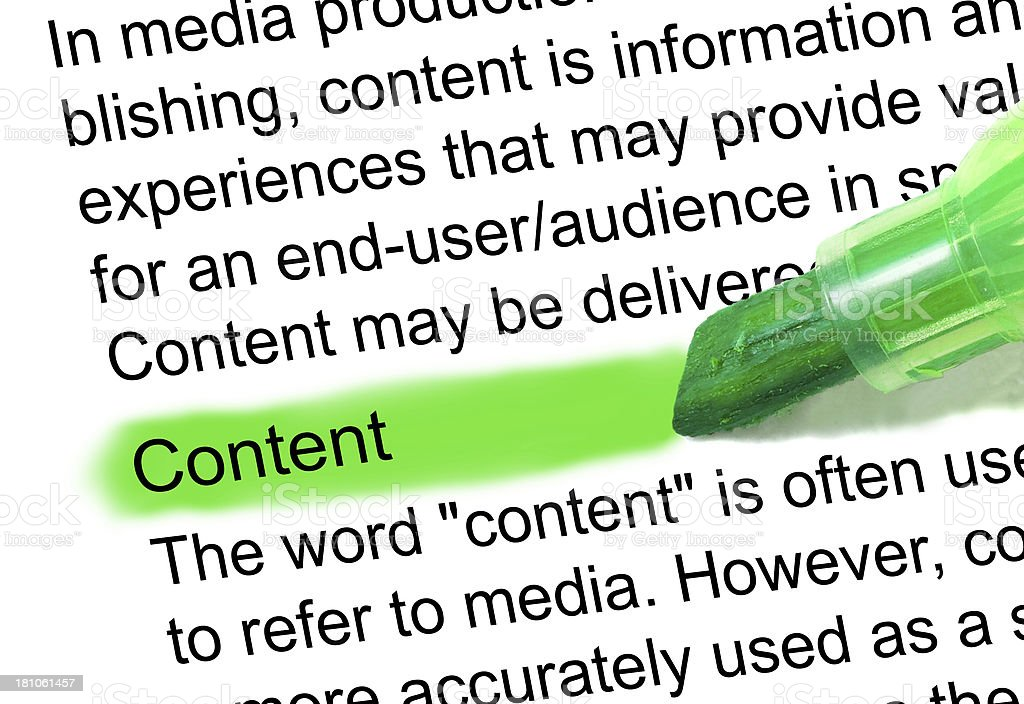 content word definition highlighted in dictionary stock photo