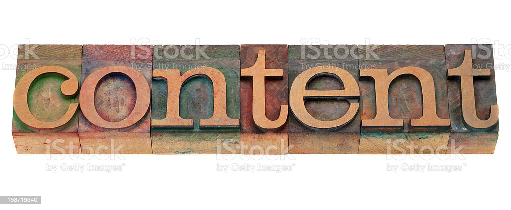 content word in letterpress type royalty-free stock photo