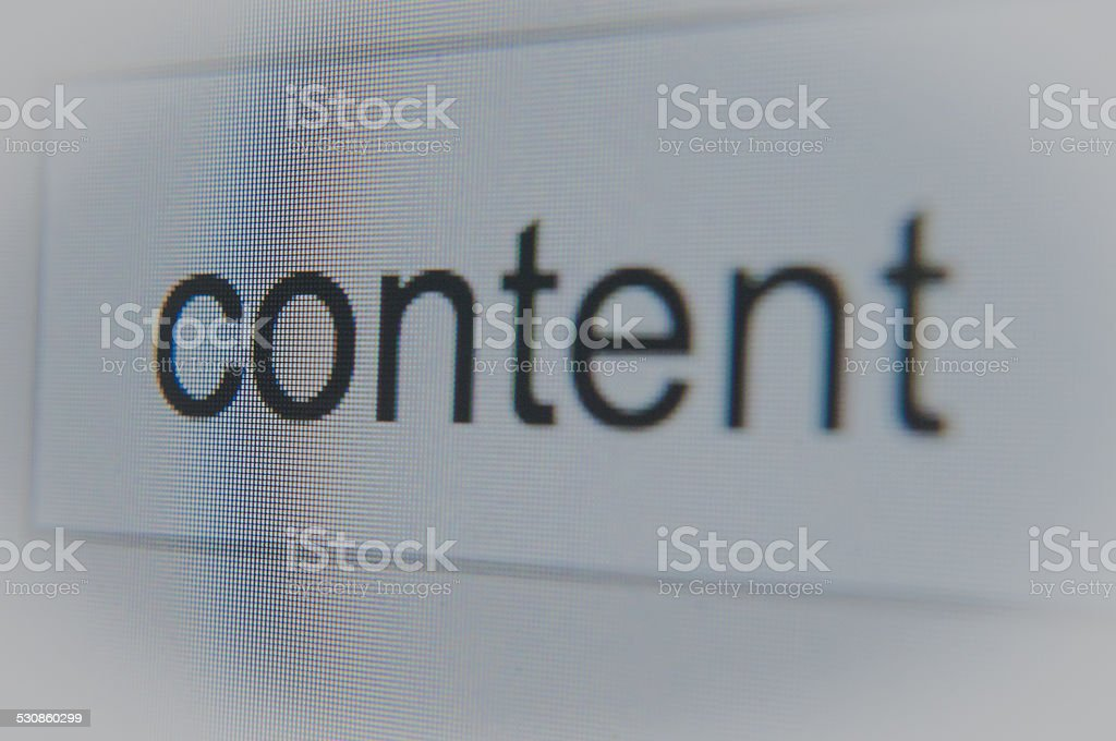 SEO - Content word search bar close up stock photo
