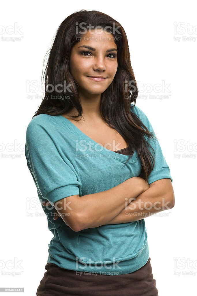 Content Young Woman Crosses Arms stock photo