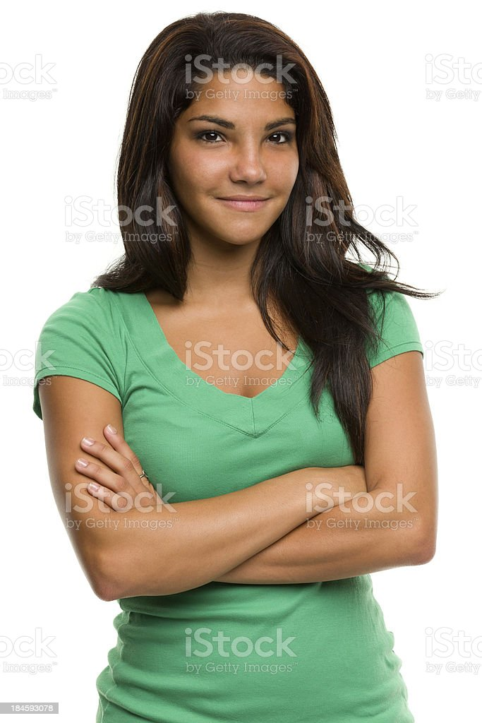Content Young Woman Waist-up Portrait royalty-free stock photo