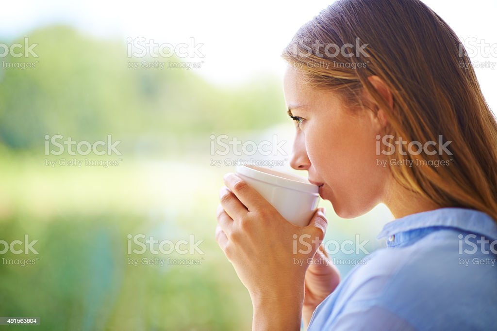 Contentment in a cup stock photo