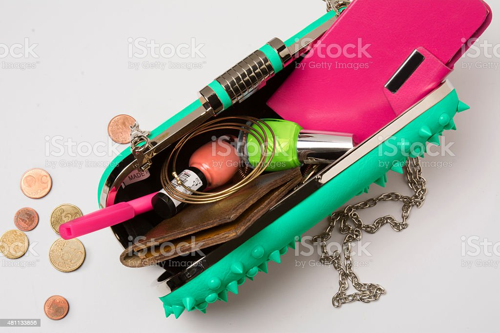 Contents of a Modern Woman's Bag stock photo