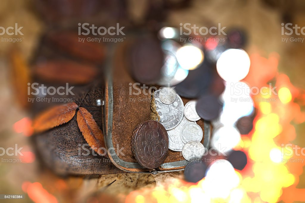 contents of an ancient purse stock photo