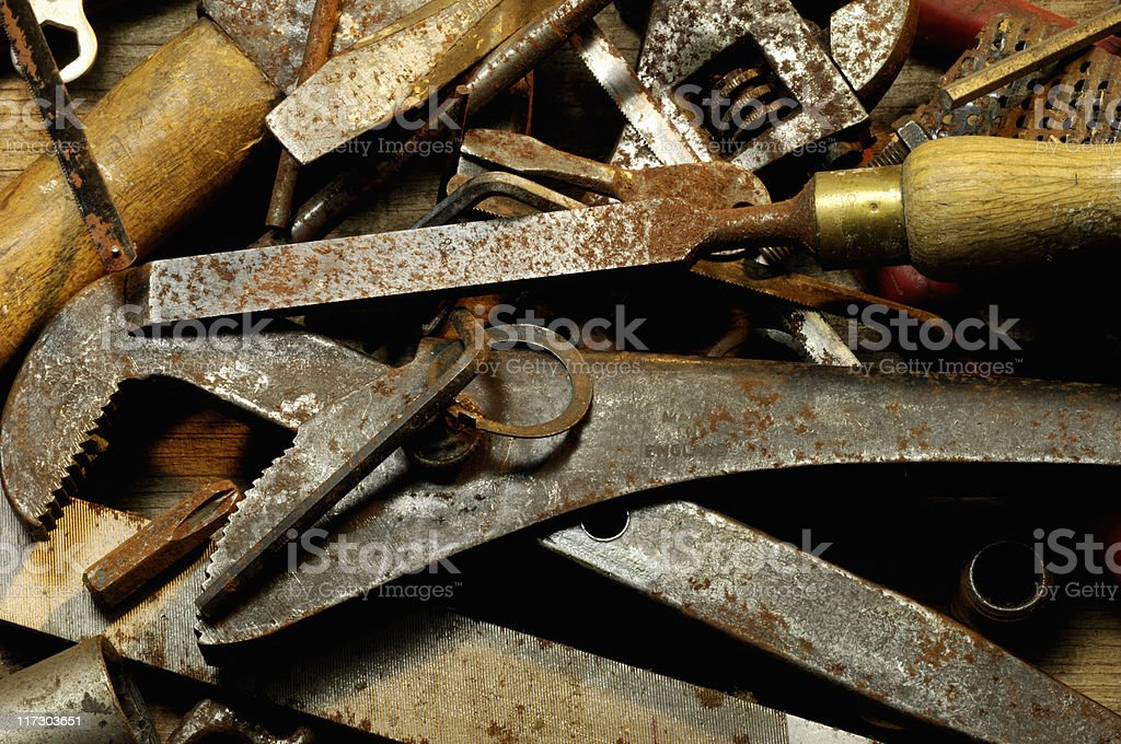 Contents of an old tool box royalty-free stock photo