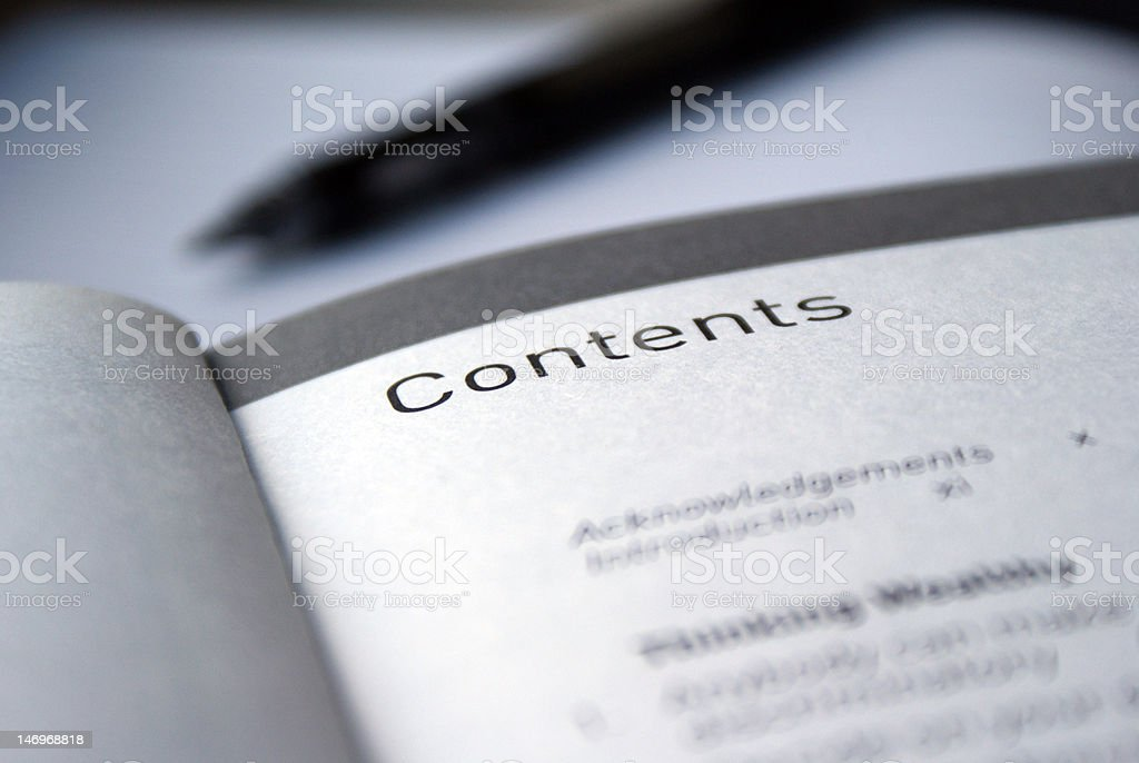 Contents page royalty-free stock photo