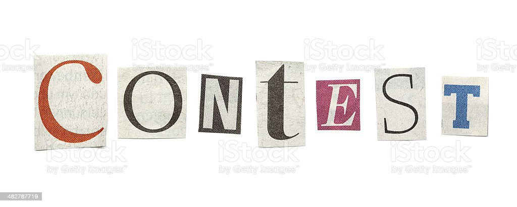 Contest, Cutout Newspaper Letters stock photo