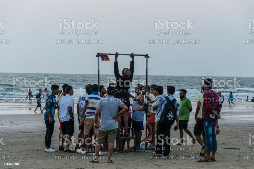 Contest on the beach stock photo