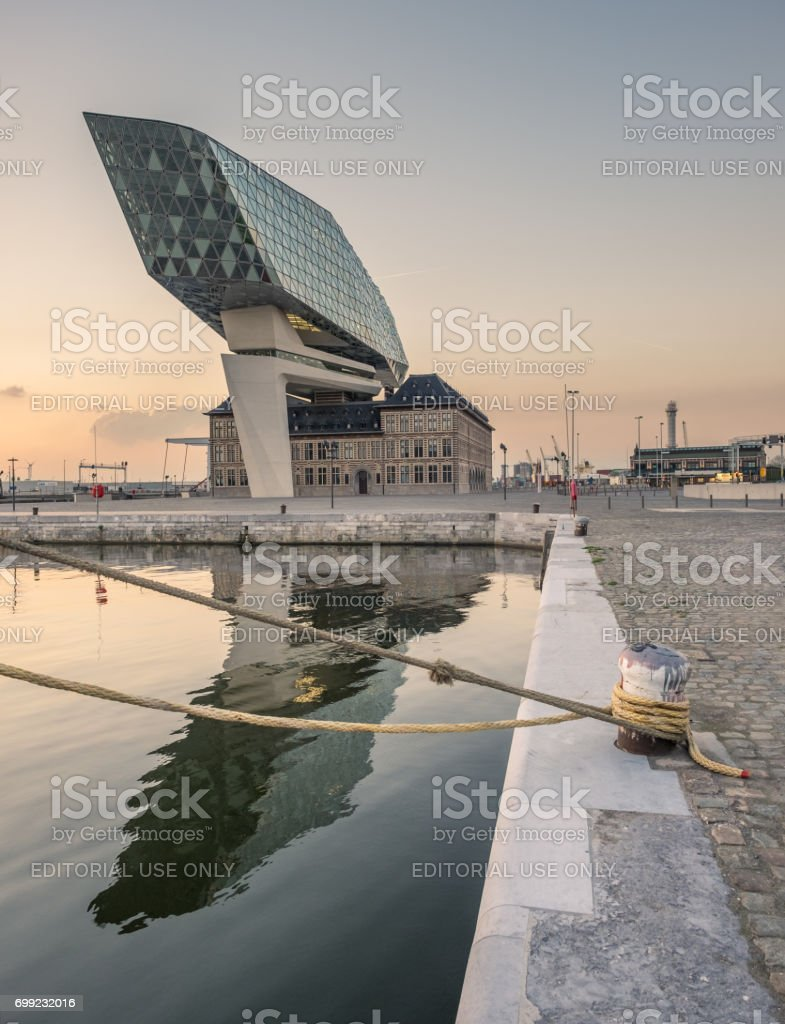 Contextual view on the new Port House of Antwerp. stock photo