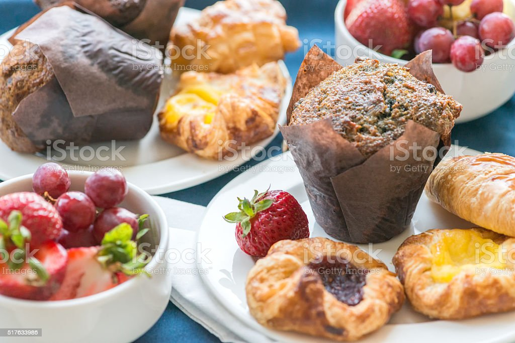 Contientnal Breakfast Buffet, with Fresh Fruit, Muffins, Croissants, Danish Pastries stock photo
