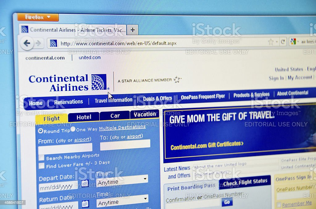 Continental Airlines website stock photo