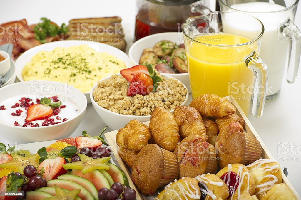 Continental breakfast buffet on a table royalty-free stock photo