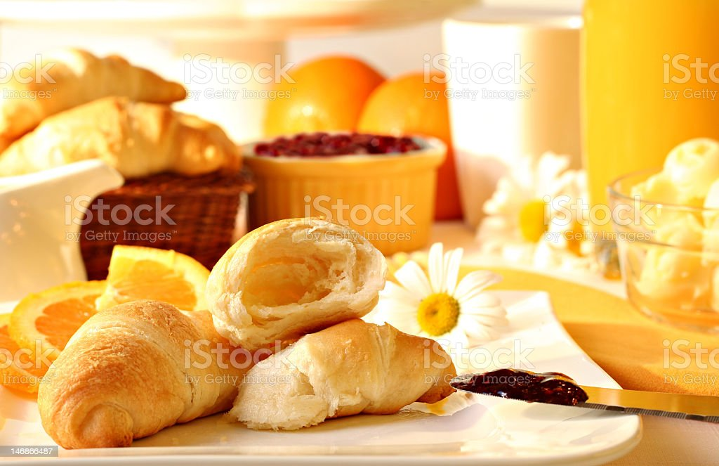 A continental breakfast on a sunny day royalty-free stock photo