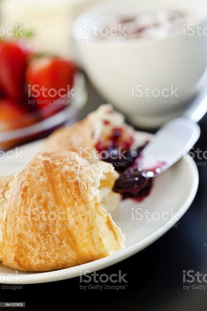 Continental breakfast with coffee and croissant royalty-free stock photo