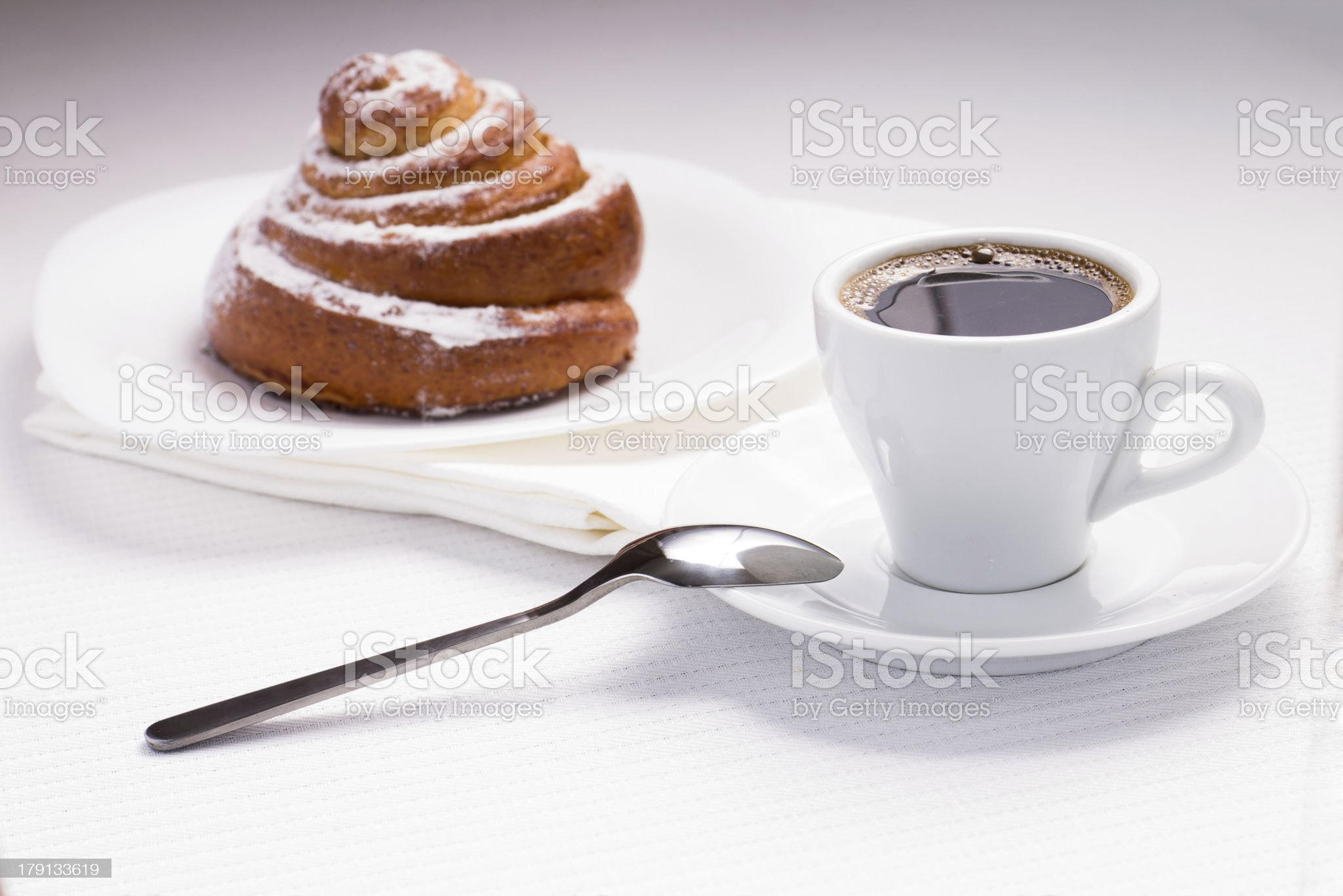 Continental Breakfast with Hot Coffee and Sweet Bun royalty-free stock photo