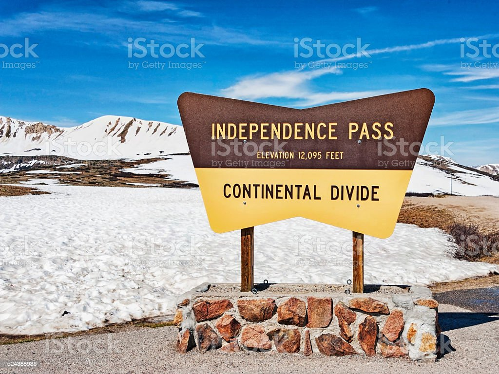 Continental Divide Sign Independence Pass Colorado stock photo