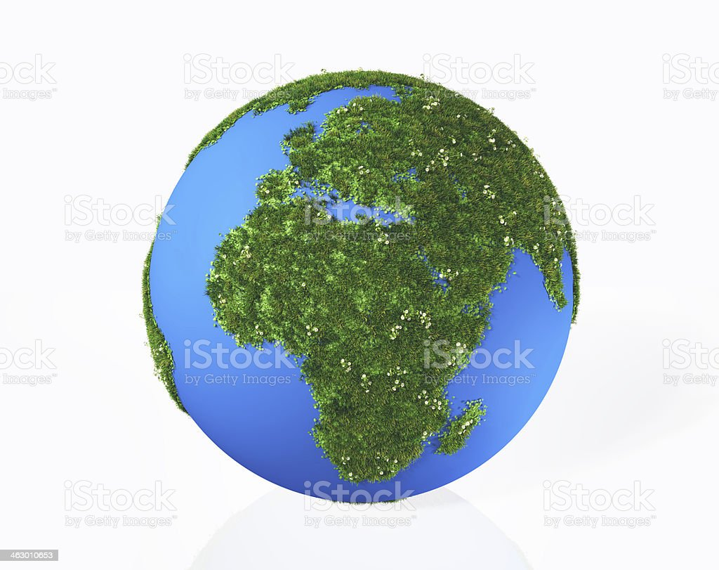continents Europe and Africa are covered by grass with flowers stock photo